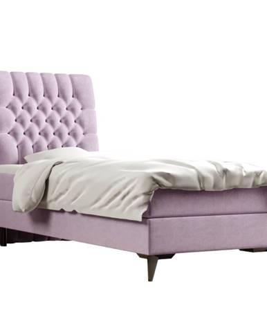 Boxspringová posteľ jednolôžko fialová 90x200 ľavá BARY