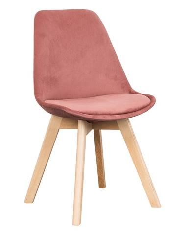 Stolička ružová Velvet látka/buk LORITA