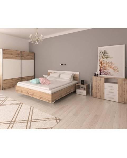 Kondela Spálňový komplet (posteľ 160x200 cm) dub wotan/biela GABRIELA