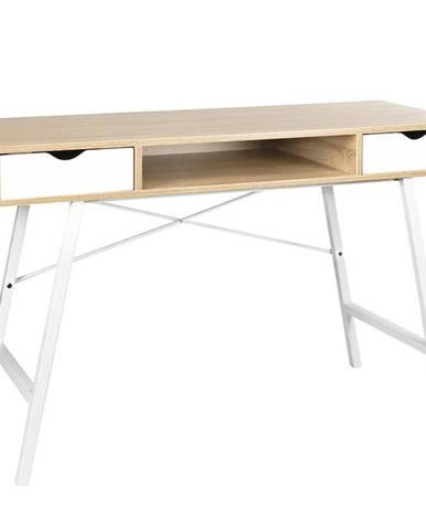 Písací stôl Nordic sonoma/ biely