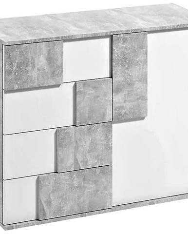 Komoda Elstra I biela/beton