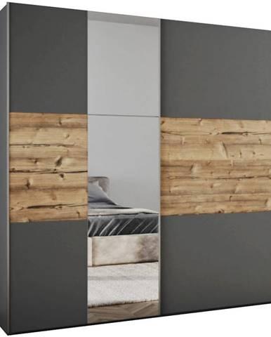 Skriňa Bastia Lux 200 grafit/Alpský Smrek/zrkadlo