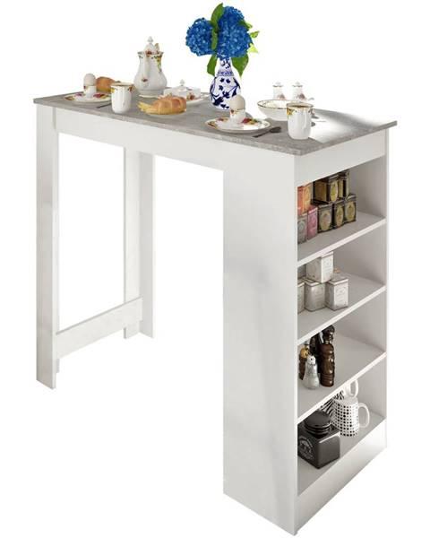 Tempo Kondela Barový stôl biela/betón AUSTEN