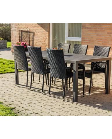 Súprava sivého záhradného nábytku so 6 stoličkami osôb Le Bonom Viking XL