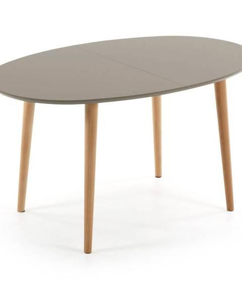 La Forma Sivý oválny rozkladací jedálenský stôl La Forma Oakland, 140 x 90 cm
