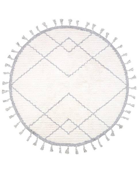 Nattiot Bielo-sivý bavlnený ručne vyrobený koberec Nattiot, ø 120 cm