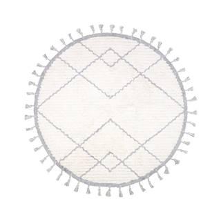 Bielo-sivý bavlnený ručne vyrobený koberec Nattiot, ø 120 cm