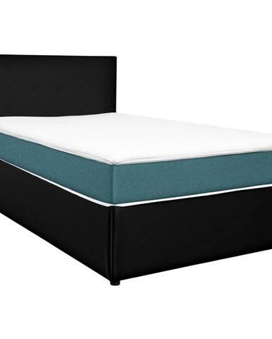 Carryhome POSTEĽ BOX, 160/200 cm, textil, kompozitné drevo, čierna, tyrkysová - čierna, tyrkysová