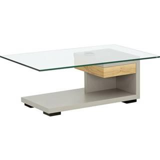 Moderano KONFERENČNÝ STOLÍK, farby dubu, fango, drevo, sklo, kompozitné drevo, 110/65/40 cm - farby dubu, fango
