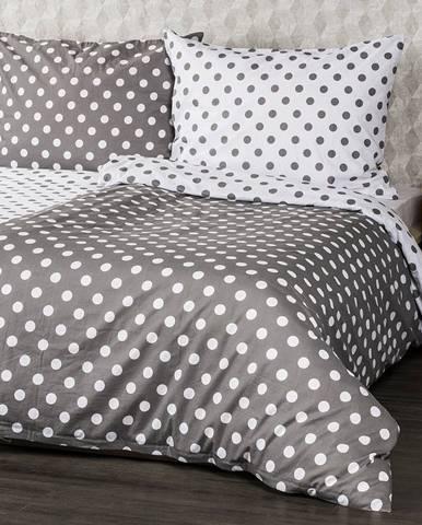 4home Bavlnené obliečky Sivá bodka, 140 x 200 cm, 70 x 90 cm, 140 x 200 cm, 70 x 90 cm