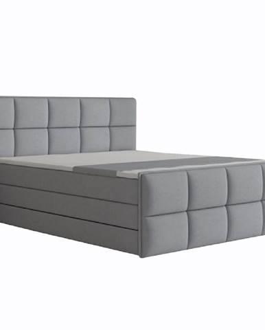 Komfortná posteľ sivá látka 160x200 RAVENA MEGAKOMFORT VISCO