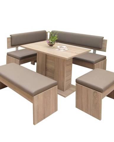 Jedálenský set Elinor - rohová lavica, stôl, 2x taburetka