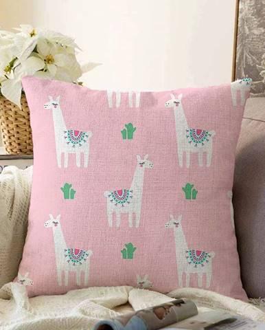 Ružová obliečka na vankúš s prímesou bavlny Minimalist Cushion Covers Alpaca, 55 x 55 cm