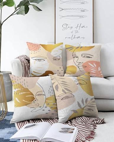 Súprava 4 obliečok na vankúše Minimalist Cushion Covers June, 55 x 55 cm