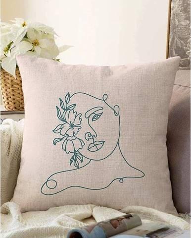 Svetlobéžová obliečka na vankúš s prímesou bavlny Minimalist Cushion Covers Chenille, 55 x 55 cm