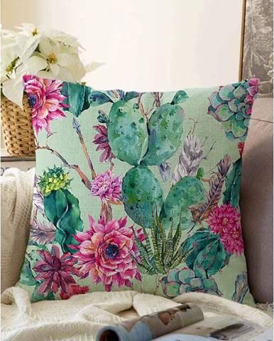 Zelená obliečka na vankúš s prímesou bavlny Minimalist Cushion Covers Cactus, 55 x 55 cm