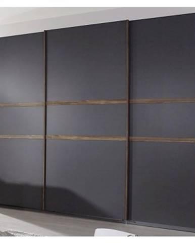 Šatníková skriňa Bernau, 271 cm, dub stirling/šedá, posuvné dvere%
