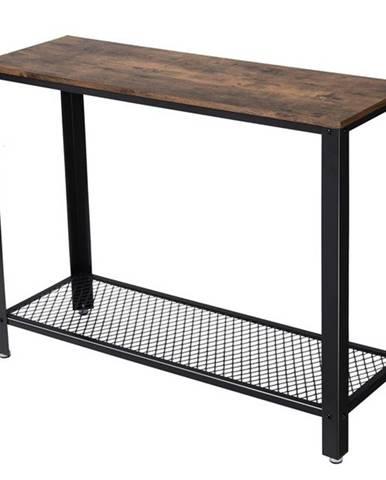 Konzolový/prístavný stolík LNT80X čierna/hnedá