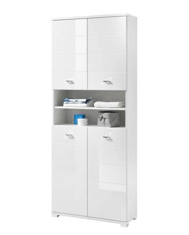 Vysoká kúpeľňová skrinka POOL biela vysoký lesk