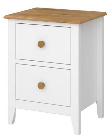Nočný stolík HOLDEN biela/borovica