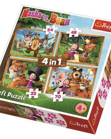TREFL Puzzle Máša a medvěd 4v1 (35,48,54,70 dílků)