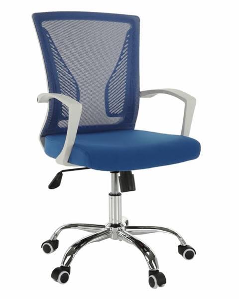 Kondela Kancelárske kreslo modrá/biela/chróm IZOLDA