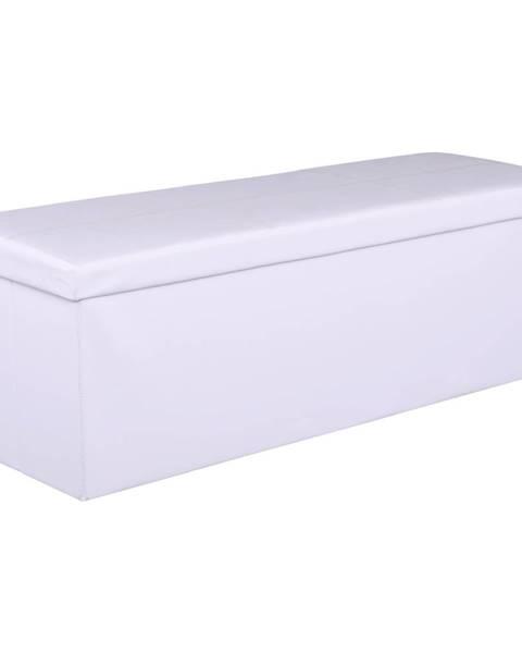 Tempo Kondela Skladací taburet biela ekokoža ZAMIRA