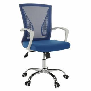 Kancelárske kreslo modrá/biela/chróm IZOLDA