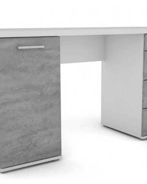 ASKO - NÁBYTOK Písací stôl Walter, biely/šedý betón%