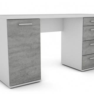 Písací stôl Walter, biely/šedý betón%