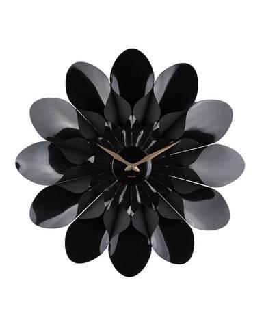 Čierne nástenné hodiny Karlsson Flower, ø 60 cm