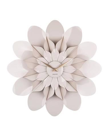 Sivé nástenné hodiny Karlsson Flower, ø 60 cm