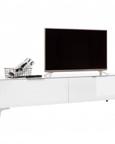 TV stolík BENTLEY biela matná/biele sklo, hĺbka 47 cm