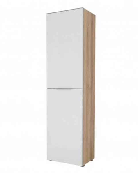 Sconto Predsieňová skriňa TERRY III dub riviéra / biele sklo, horná doska tvrdené sklo