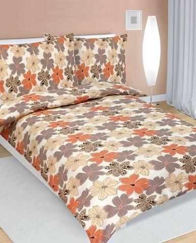 Bellatex Krepové obliečky Kvety medová, 140 x 220 cm, 70 x 90 cm
