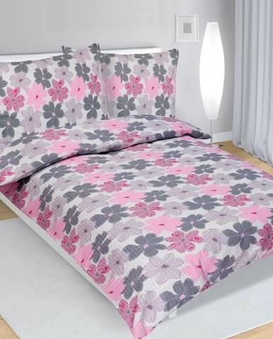 Bellatex Krepové obliečky Kvety ružová, 140 x 200 cm, 70 x 90 cm