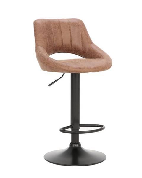 Kondela Barová stolička hnedá látka s efektom brúsenej kože LORASA