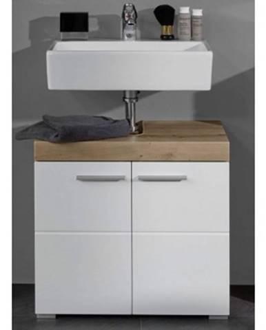 Kúpeľňová skrinka pod umývadlo Amanda 301, sukový dub/biely lesk%