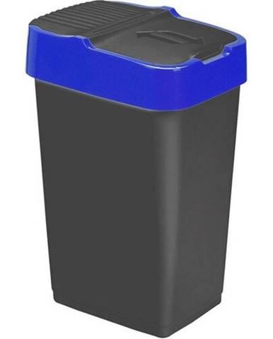 Heidrun Odpadkový kôš 60 l, čierny s modrým pruhom