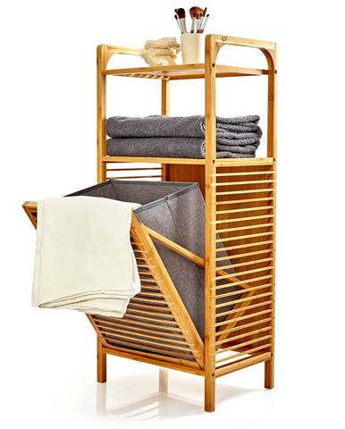 Blumfeldt 2 v 1 regál, 2 odkladacie plochy, odnímateľný kôš, bambus, bavlna