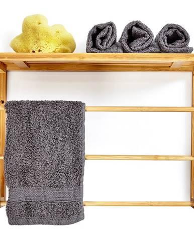 Blumfeldt Nástenný regál do kúpeľne, 3 tyče uteráky, odkladacia plocha hore, 42x30x20cm, bambus