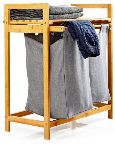 Blumfeldt Regál na bielizeň, 2 odnímateľné vrecia, bambus, pevná bavlna