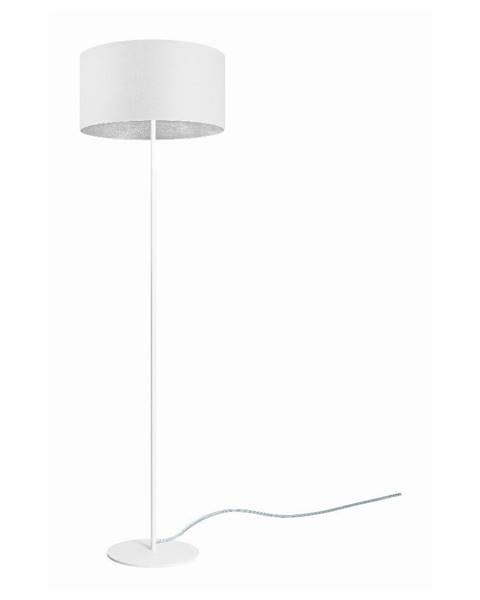 Sotto Luce Biela stojacia lampa s detailom v striebornej farbe Sotto Luce Mika, ⌀ 40 cm
