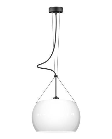Biele lesklé závesné svietidlo s čiernym káblom Sotto Luce MYOO Elementary