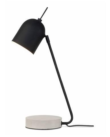 Čierna stolová lampa s betónovým podstavcom Citylights Madrid