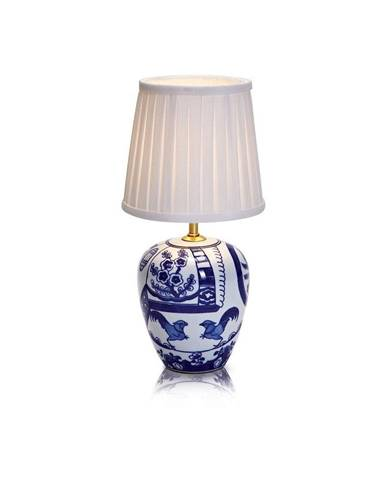 Modro-biela stolová lampa Markslöjd Goteborg, výška 33 cm