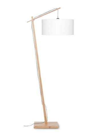 Stojacia lampa s bielym tienidlom a konštrukciou z bambusu Good&Mojo Andes