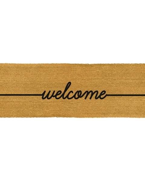 Artsy Doormats Čierna dlouhá rohožka z prírodného kokosového vlákna Artsy Doormats Welcome, 120 x 40 cm
