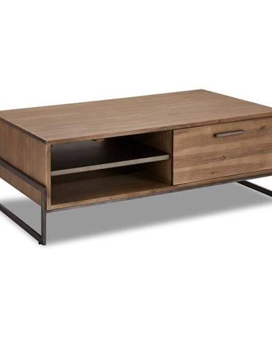 Hnedý konferenčný stolík z masívneho dreva FurnhoMallorca, 120 x 75 cm