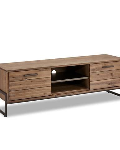 Hnedý TV stolík z masívneho dreva FurnhoMallorca